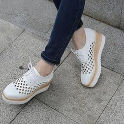 Pretty in Boots - Perforated Wedge Oxfords