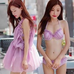 Little Dolphin - Set: Ruffle Bikini + Cover-Up Dress