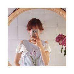 LEELIN - Cutaway-Shoulder Eyelet-Lace Sleeve Top