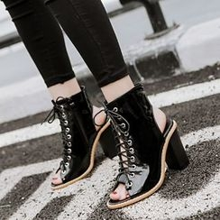 Anran - Peep-Toe Lace-Up Ankle Boots