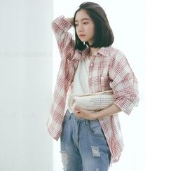 Duterena - Long-Sleeve Plaid Long Blouse