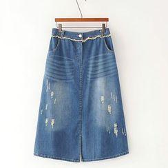 Lina Cota - Distressed A-Line Denim Skirt