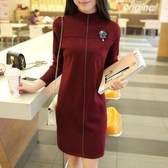 Ekim - Long-Sleeve Mock Neck Knit Dress