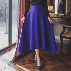 ERANZI - Wool Blend A-Line Long Skirt