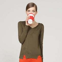 O.SA - V-Neck Embroidered Knit Top