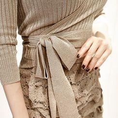 Marlangrouge - 3/4-Sleeve Tie-Waist Wrap Cardigan