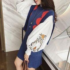 Panda Love - Sleeveless Color Block Knit Dress