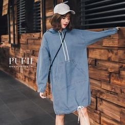 PUFII - Drawstring Hooded Dress