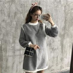 Bloombloom - Long-Sleeve Fleece A-Line Dress
