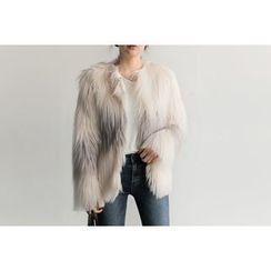 UPTOWNHOLIC - Round-Neck Faux-Fur Jacket