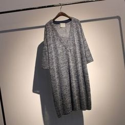somniaa - V領七分袖T恤裙