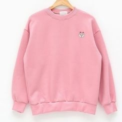 icecream12 - Finger Heart Embroidered Sweatshirt