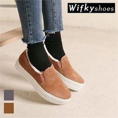 Wifky - Faux-Suede Fleece-Lined Platform Slip-Ons