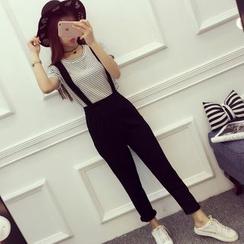 ever after - 套裝: 條紋短袖T恤 + 背帶褲