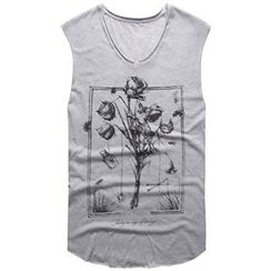 Mannmix - Printed V-neck Sleeveless T-shirt