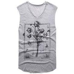 Mannmix - 印花V领无袖T恤
