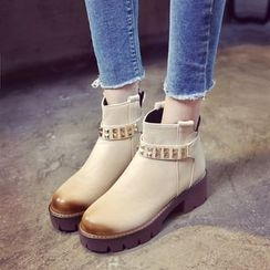 Pastel Pairs - Studded Platform Ankle Boots