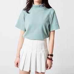 TriStyle - 纯色高领短袖T恤