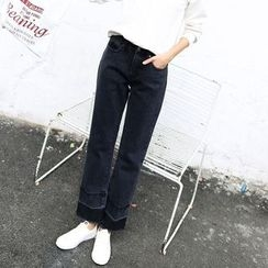 Carabecca - 散口宽腿牛仔裤