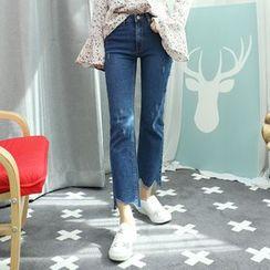 Dodostyle - Asymmetric-Hem Boot-Cut Jeans