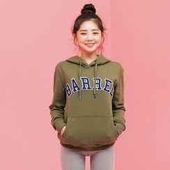 chuu - Hooded Lettering Kangaroo-Pocket Pullover