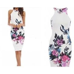 HOTCAKE - Sleeveless Floral Sheath Dress