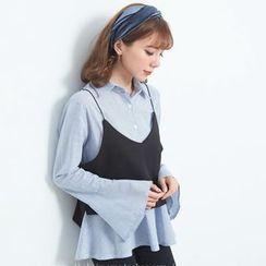 BAIMOMO - 套裝:細肩帶短款上衣 + 喇叭袖襯衫