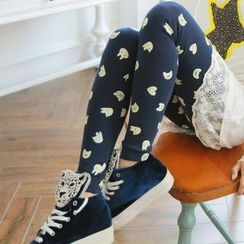 Chuvivi - Cartoon Print Fleece Lined Leggings