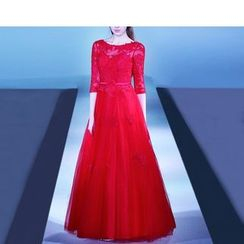 Royal Style - 3/4-Sleeve Lace A-Line Evening Gown