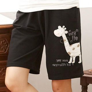 RingBear - 'Giraffe' Print Cotton Shorts