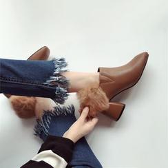 Linda Lane - Furry-Back Chunky-Heel Pumps