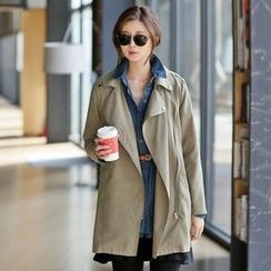 Jcstyle - Zip-Up Trench Coat with Sash