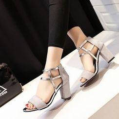 Ginko - Peep-Toe Chunky-Heel Sandals
