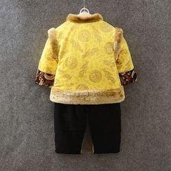 KUBEBI - 童装套装: 中式夹克 + 裤 + 无边帽
