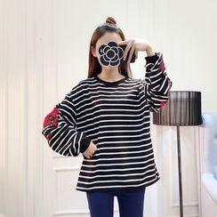 Honeydew - 刺繡條紋套衫