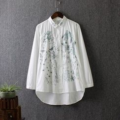 Blue Rose - Embroidered Shirt
