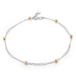 MaBelle - 14K Tri-Color White Yellow Rose Gold Station Bead Anklet  (23cm)