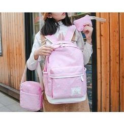 Sweet City - Set: Bow Print Backpack + Crossbody Bag + Zip Pouch