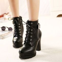 Monde - Chunky Heel Lace-Up Short Boots