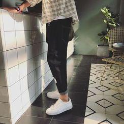 JUN.LEE - Patched Slim Fit Jeans