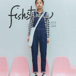TREEZIN - Straight-Leg Suspender Jeans