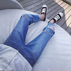 JUN.LEE - Distressed Washed Jeans