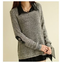 Lucy Girl - Set: Skull Accent Sweater + Chiffon Blouse