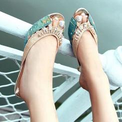 TULASI - Embellished Kitten Heel Slide Sandals