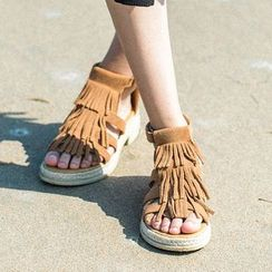 MIAOLV - Chunky Heel Fringed Sandals