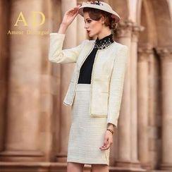 艾尚臣 - 套裝: 閃閃邊夾克 + 鉛筆裙