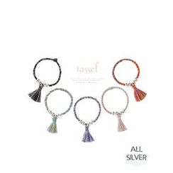 Miss21 Korea - Silver-Ball Tasseled Braided Ring