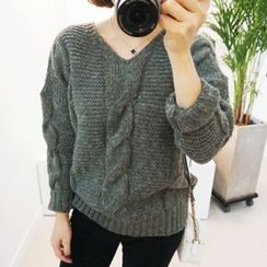 STYLEBYYAM - V-Neck Cable-Knit Top