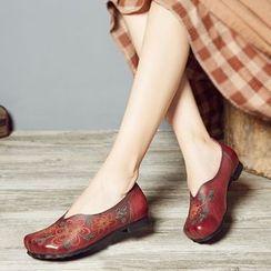 LARKSPUR - 花形真皮平跟鞋
