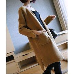 YIDIYU - Plain Pocketed Long Cardigan